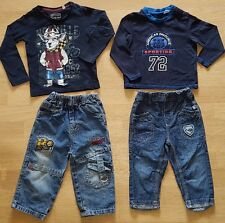 2x Shirt und 2x Hose, gr. 86/92, BLAU, guter gebrauchter Zustand