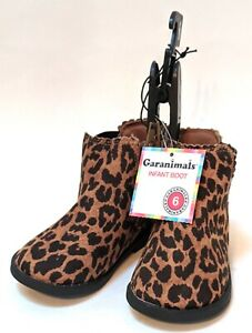 Infant Girls Brown & Black Leopard Print Ankle Boots Baby Cheetah Shoes Sz 6