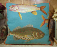 "20"" Beatiful LARGE SEA Fish Hand Crafted Needlepoint Pillow Cushion Cover"
