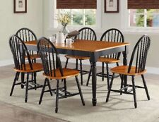 Farmhouse 7 Pc Dining Set Table Chair Antique Kitchen Solid Wood Black And Oak