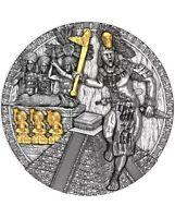 2020 Niue Island MAYAN HOLCAN Warriors 2oz Silver Antique Coin