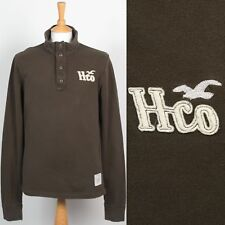 MENS HOLLISTER BROWN BUTTON NECK SWEATSHIRT SWEATER CASUAL STYLE M