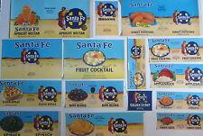 Lot of 15 Old Vintage - SANTA FE Brand - Fruit & Vegetable CAN LABELS - INDIAN