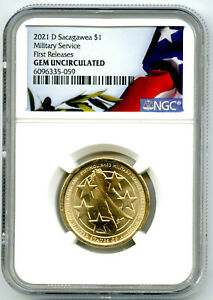 2021 D $1 SACAGAWEA NGC GEM UNC MILITARY SERVICE DOLLAR FIRST RELEASES