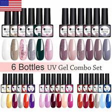 6 Bottles UR SUGAR UV Gel Combo Set Gel Nail Polish Top Base Nail Varnish 7.5ml
