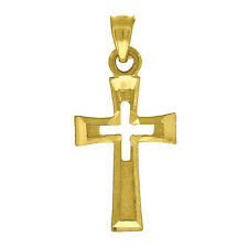 10kt Yellow Gold Womens Mens Unisex Cross Religious Fashion Charm Pendant