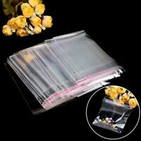 100pcs Plastic Clear Transparent OPP Self Adhesive Poly Bag Bag Resealable I9B6