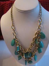 """GOLD TONE & FAUX TURQUOISE NECKLACE FASHION COSTUME JEWELRY - 21"""" LONG - BBA"""