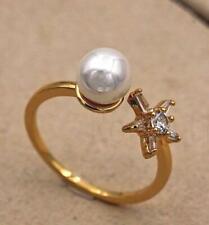 18K Gold Filled Adjustable Opening Ring Zircle White Pearl Flower Wedding Size7