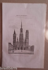 """Gravure """"Cathédrale de Rouen en 1822"""" Fin XIXème"""
