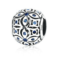 New Authentic 925 Sterling Silver Blue Flower Charm Beads for Bracelet/Necklace