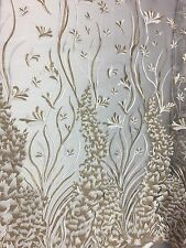 White Gold Free Bird Floral Mesh Embroidered Prom Cocktail Lace Fabric - BTY