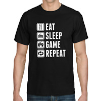 EAT SLEEP GAME REPEAT Gamer Zocker Admin Sprüche Spaß Lustig Comedy Fun T-Shirt