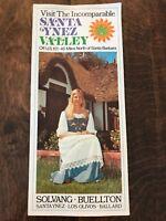 Vintage Santa Ynez Valley Travel Tourist Brochure Pamphlet 1970s California Tour