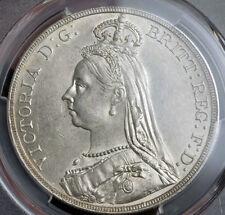 "1889, Great Britain, Queen Victoria. Silver ""Jubilee Bust"" Crown. PCGS AU-58!"