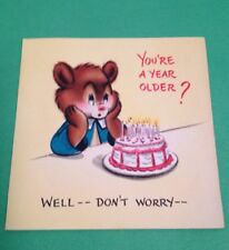 Vtg Birthday Greeting Card Bears Rowboat Hall Brothers 1940s? Hallmark Used