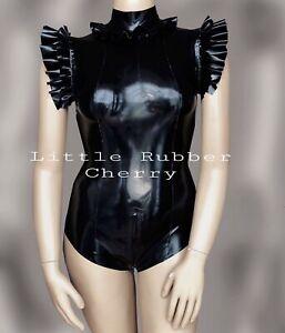 Handmade Stunning Black ruffles Latex Rubber Bodysuit Size 10 Fetish Sexy