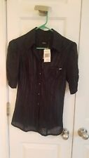 guess NWT vintage black short sleeve sheer button ruffle top size S retail $69