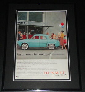 1959 Renault Dauphine 11x14 Framed ORIGINAL Vintage Advertisement Poster