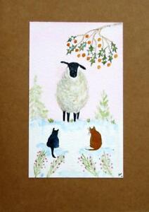 ORIGINAL WATERCOLOUR CHRISTMAS CARD & ENVELOPE: Sheep and Cats