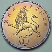 1978 GREAT BRITAIN 10 NEW PENCE PROOF STUNNING GEM BU TONED UNC COLOR (DR)