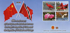 Trinidad & Tobago 2014 FDC Diplomatic Relations China 4v Set Cover Birds Flowers