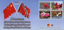 Trinidad & Tobago 2014 FDC Diplomatic Relations China 4v Set Cover Birds Flowers