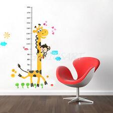 Adesivo Parete Camerette MISURATORE ALTEZZA Animali Giraffa Decorazione Casa