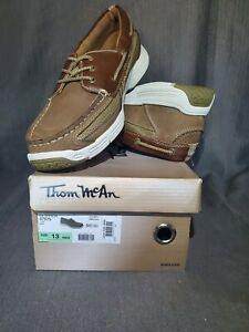Thom McAn Men's Brown Leather Clipper Casual Loafer Lace Up Shoe Size 13 New