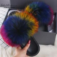 Real Fox Plus Fur Slippers/Slides Fashion Sandals Women's Flat Shoes Multicolor