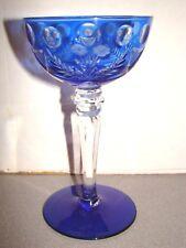 Bohemian Glass Blue Cut To Clear Sherbet Wine Goblet