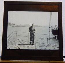Antique Glass  Slide Man on deck Merchant  ship Gibraltar  1930's