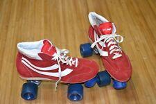 Vintage Roller Skates ROLLAMANIA RED Suede Men's 10 NOS Unused Made in Korea