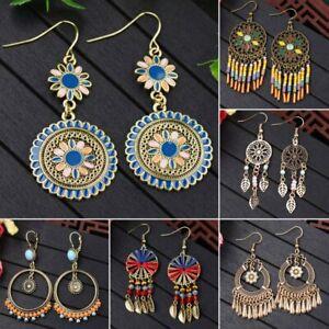 Retro Boho Handmade Ethnic Tassel Beads Hook Earring Women Ear Dangle Jewellery