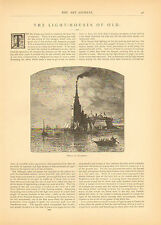 Light Houses, Of Old, 5 pg. Article, 8 Images, Vintage,1880 Antique Article,