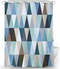 Neutral Beige Blue Gray Triangle Mosaic Geometric Modern Fabric Shower Curtain