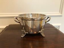 ANTIQUE VINTAGE ENGLISH MAPPIN & WEBB HEAVY SILVERPLATE FOOTED BOWL WITH LINER