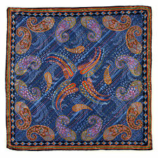 New SANTOSTEFANO Handmade Paisley Blue Silk Pocket Square Handkerchief NWT $150