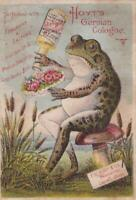 Anthropomorphic Victorian Trade Card Hoyt's German Cologne Frog with Bouquet