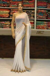 Silk Bollywood Indian Ivory Heavy Blouse Saree Designer Sari Bridal Party Dress