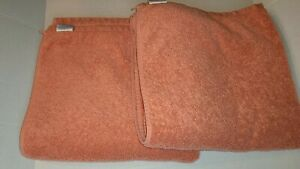"""Set of 2 Matouk Large Bath Towels Solid Orange 100% Cotton 30""""x55"""""""
