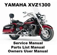 YAMAHA XVZ1300 ROYAL STAR VENTURE Owners Workshop Service Parts Manual PDF CD-R