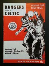 Celtic v Rangers Scottish League Cup Semi Final Programme 05/12/73