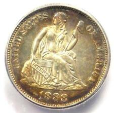 1888 PROOF Seated Liberty Dime 10C Coin. Certified ICG PR66 (PF66) - $1560 Value