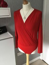 H&M Size S bright Red Long Sleeved Wrapover Body Suit NWT