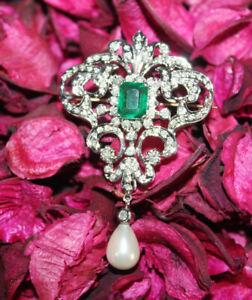 IGI Certified 1.90ctNatural Round Diamond 14K Solid White Gold Emerald Brooch