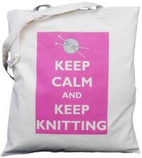 Mantenere la calma e mantenere per maglieria-Cotone Naturale Borsa a tracolla-Rosa Design