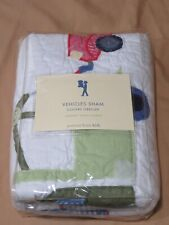 "New Pottery Barn Kids Standard ""Vehicales Sham"" Pillow Case Tow Truck White/Blue"