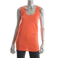VICTORIA SECRET Famous Catalog NEW Orange Ruched Cotton Yoga Tank Top shirt S