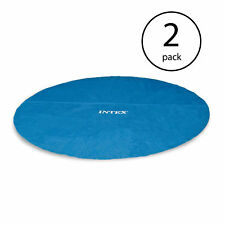 Intex 18 Foot Round Easy Set Blue Vinyl Solar Cover for Swimming Pools (2 Pack)